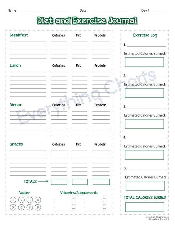 Diet and Exercise Journal - PDF File/Printable | Products