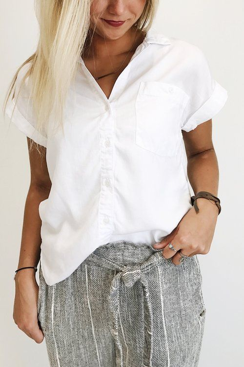 White Button Up Short Sleeve Shirt | ROOLEE