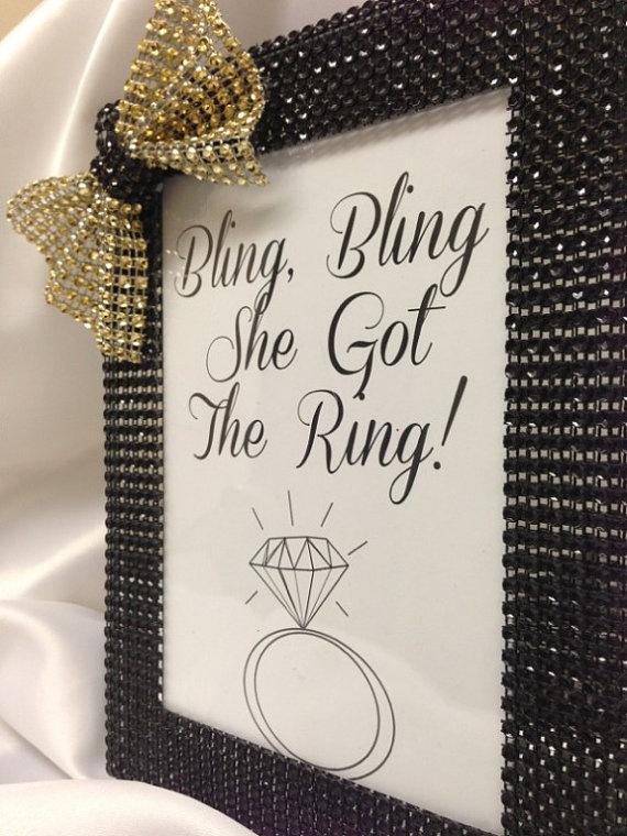 """Bridal shower- """"Bling Bling, she got the Ring"""" Frame- any color. on Etsy, $7.75"""