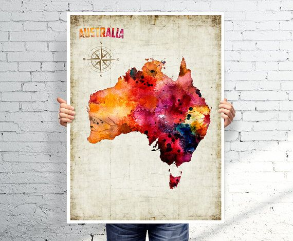 AUSTRALIA map   Watercolor map  Art print  POSTER by BOX21 on Etsy, $25.00