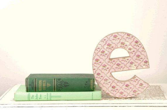 Letter E Monogram with Pink Floral Details. Available at www.duryeaplace.com. #duryeaplace etsy #weddings #letterE