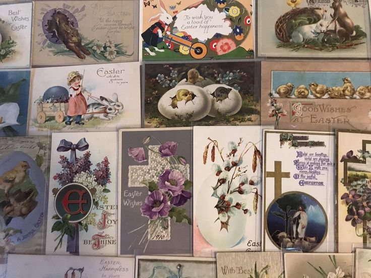 NICE LOT OF 25 VINTAGE  EASTER HOLIDAY POSTCARDS-CHICKS,BUNNYS,1900's -p359 #Easter