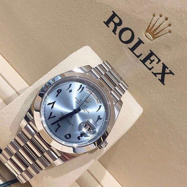 REPOST!!!  One bad ass platinum Rolex with stunning Arabic dial  ~ ~ ~ ~   Via @moneywatches ~ ~ ~ #hooked2luxury ~ ~ ~  #watches#swissmade#patek#luxurywatches#luxurywatch#wristshot#dailywatch#watchesofinstagram#watchcollector#watchoftheday#watchaddic