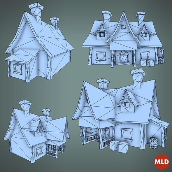 Low Poly Big House by Mladen Nikolic, via Behance