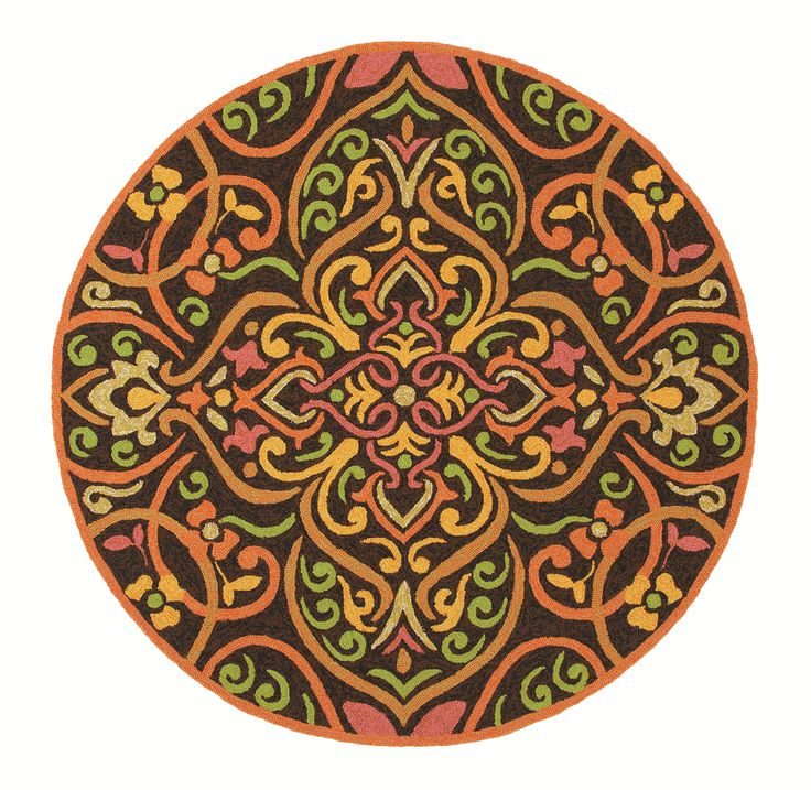 The Morocco Indoor/Outdoor Round Rug. The intricate tile work that is so captivating in Morocco is adapted in this sophisticated rug, which pairs coral, orange, gold, rose, and apple green against a rich background of black and chocolate brown. Color: Persimmon.