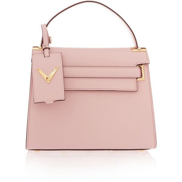 Valentino My Rockstud leather tote (£1,555) ❤ liked on Polyvore featuring bags, handbags, tote bags, pink, leather purse, pink tote, structured tote, pink tote bag and pink handbags