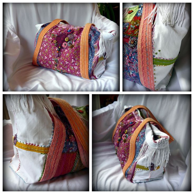 Handmade by Judy Majoros - Multi colour floral  fringe tote bag. Double-sided bag Embroidered white denim tote bag. Beaded-crochet bag. Recycled bag