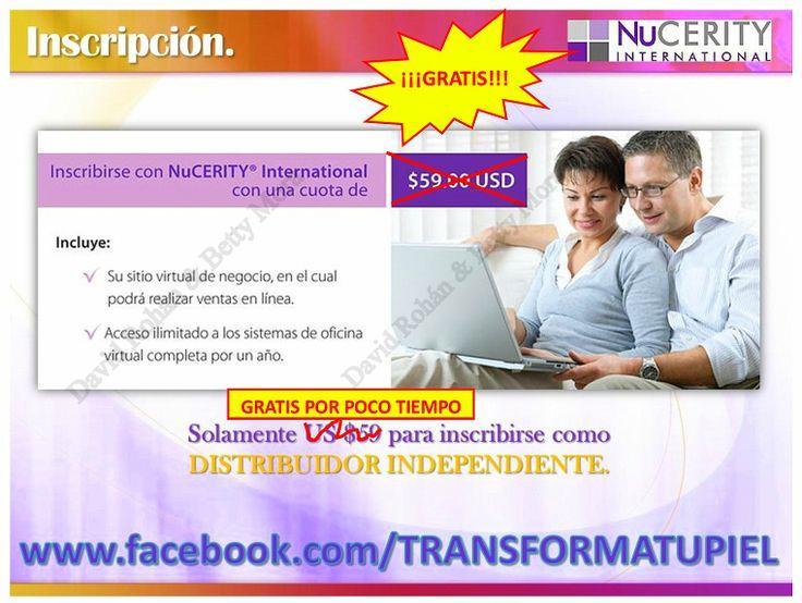 HAZ TUYA ESTA GRAN OPORTUNIDAD. Más información, estamos a un mensaje o llamada de distancia.  ¡¡¡Éxito y sean felices!!!  David Rohán y Betty Mora. Líderes NuCERITY. Cel.+SMS+WhatsApp: +52 1 55 2970 2601 Skype: nucerity-bemori Facebook Personal: https://www.facebook.com/dabe.nucerity Página Facebook: https://www.facebook.com/TRANSFORMATUPIEL