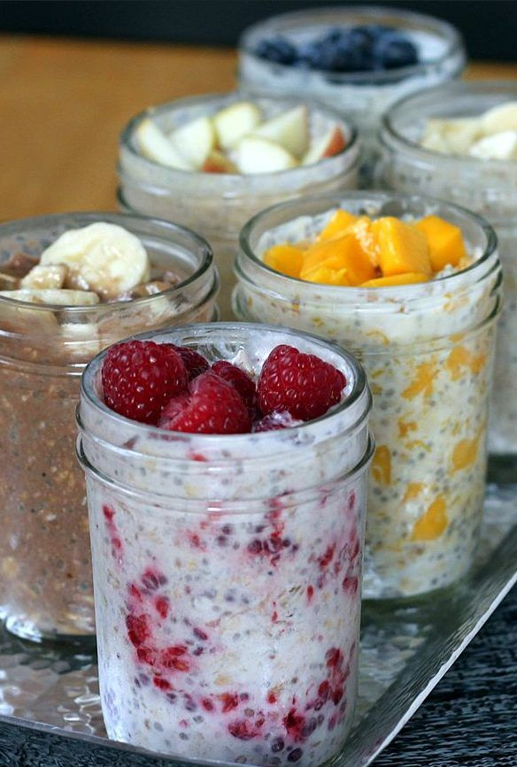 """This easy, no-cook """"summer porridge"""" has make-ahead convenience and is packed with nutrition to get your day off to a healthy start. Make it in individual mason jars for a perfect serving size and an"""