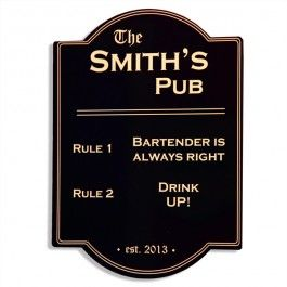 Pub Rules Bar Sign