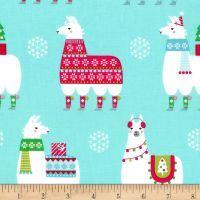 Michael Miller Llama Navidad Llama Navidad Aqua