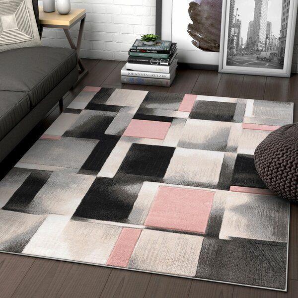 Louisa Power Loom Pink Gray Black Rug Living Room Decor Gray Well Woven Area Rugs