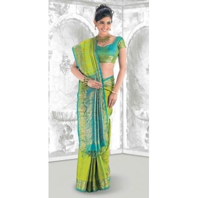 fb11b941b5 Bright lime green and sky blue pattu saree.   Bridal Sarees   Saree, Silk  sarees, Kanchipuram saree