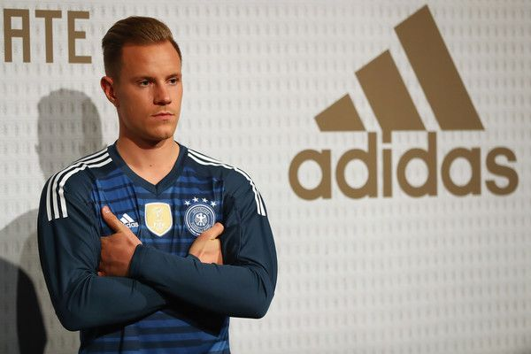 Marc-Andre Ter Stegen Photos - Marc-Andre ter Stegen attends the presentation of the new adidas Germany kit for the 2018 FIFA World Cup Russia at The Base on November 7, 2017 in Berlin, Germany. - Germany and Adidas Present the New Kit for the 2018 FIFA World Cup Russia