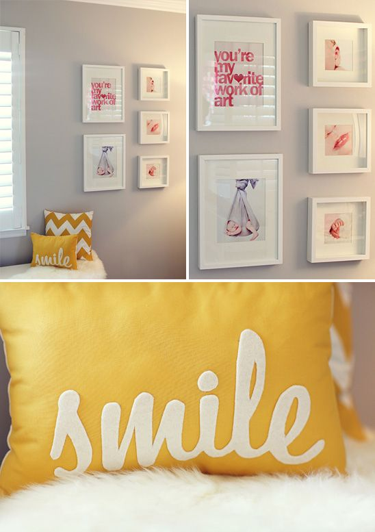"""Yellow chevron and """"Smile"""" pillows & gallery wall from on to baby.Wall Art, Smile Pillows, Pictures Display, Grey Wall, Yellow Chevron Wall, Baby Pictures Wall Frames, Gallery Wall, Girls Yellow Chevron, Baby Photos"""