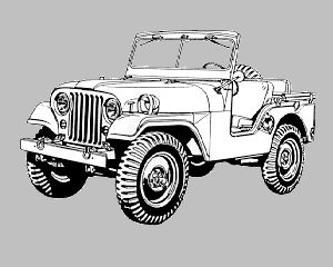vintage m38a1 for the jeep coloring book