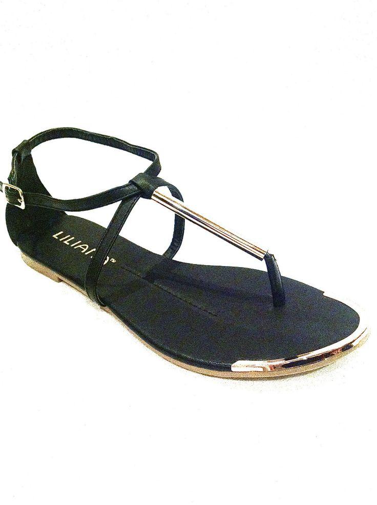 Details about SEXY GOLD TIP TOE BLACK METALLIC T STRAP GODDESS FLAT  GLADIATOR SANDALS 2013 - 35 Best Flat Sandals Images On Pinterest