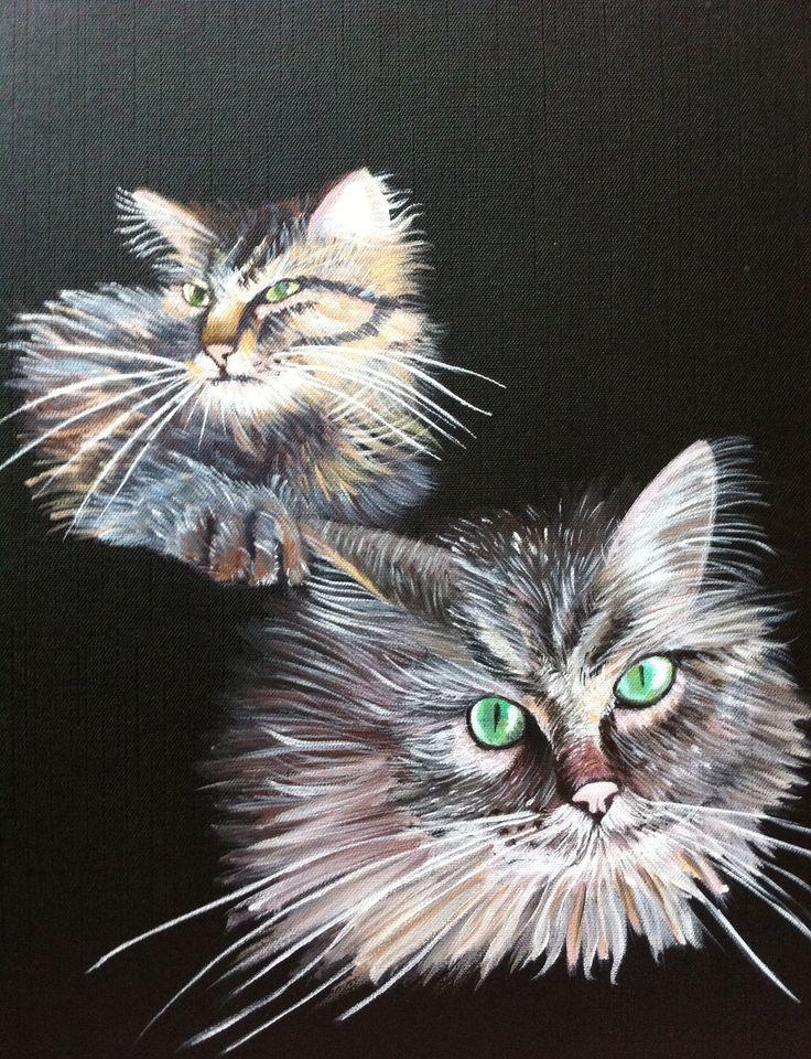 Peinture chat peinture acrylique@Lumeline-bll Les copains : Peintures par lumeline-bll