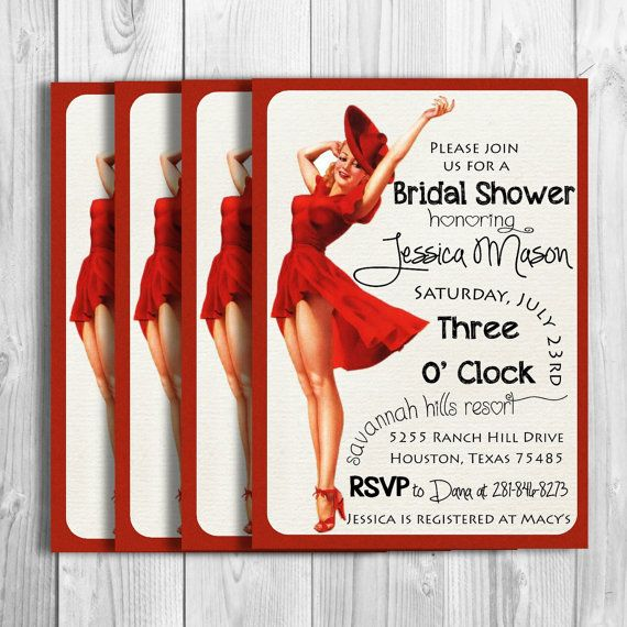 Vintage Pin Up Glamour Girl Bridal Shower by KennedyLaneDesigns, $14.50