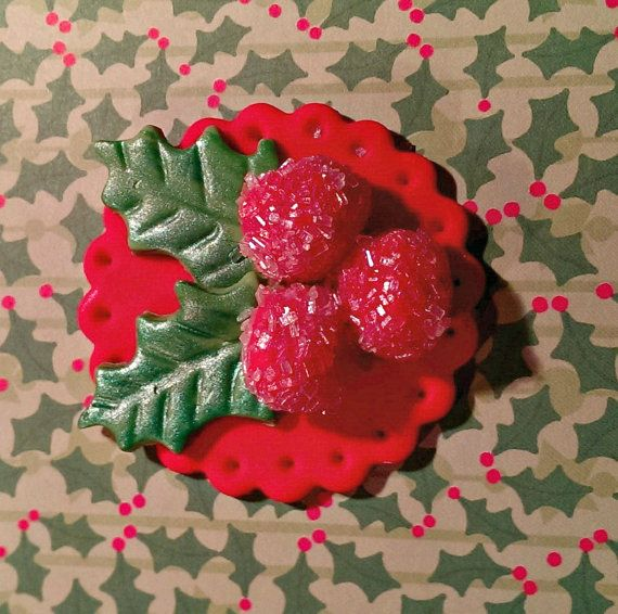 Christmas Holly Berries Fondant Cupcake, Fondant Cupcake, Cake, Cookie Toppers Set of 12 (one dozen)