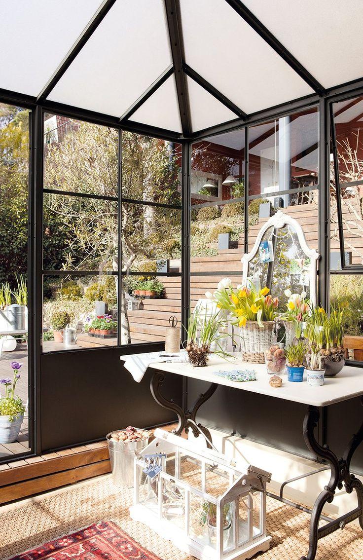 Las flores del fr o color y perfume bellos jardines de - Invernadero para casa ...