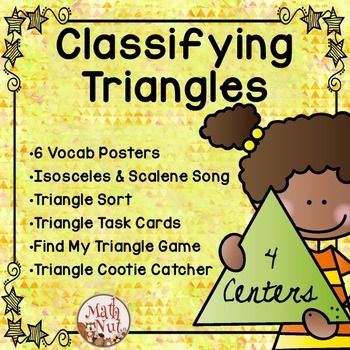Classifying Triangles Activities contains 4 math centers which provide students with practice classifying triangles by their sides and angles. Students will identify and classify triangles as acute triangles, right triangles, obtuse triangles, equilateral triangles, isosceles triangles, or scalene triangles. Six posters showing each type of triangle are included. A song by K L Pickett is included which will help student remember the difference between isosceles and scalene triangles.