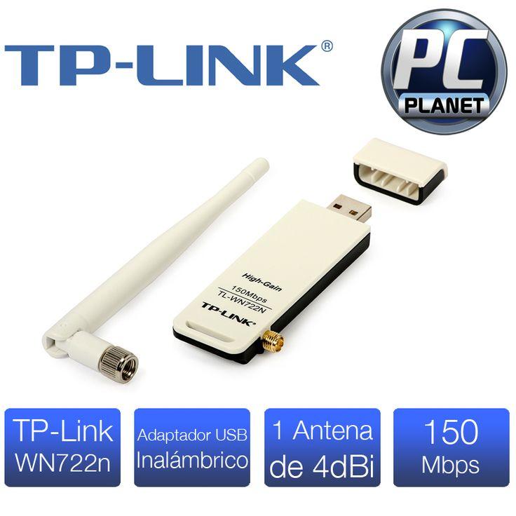 TpLink WN722n. Gran adaptador de conexión inalambrica que incorpora una antena de 4dBi, que al ser desmontable te da la oportunidad de agrandarla con otra antena de más alcance que se compre por separado o por cable. Incluye un boton QSS para configurar y encriptar rapidamente tu conexión inalambrica, tiene una frecuencia de 2.4 GHz y tiene un rabngo de alcance máximo (en óptimas condiciones) de 130mts