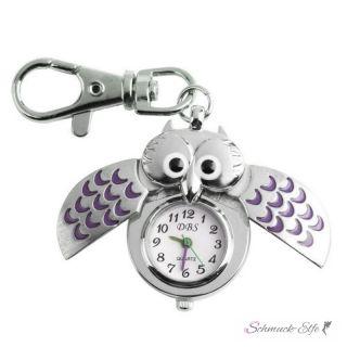 Eulen Uhr / Schlüsselanhänger  EULY lila  im Schmuck Beutel