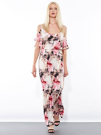 Floral maxi φόρεμα από βισκόζη με ανοιχτούς ώμους και βολάν στο ντεκολτέ