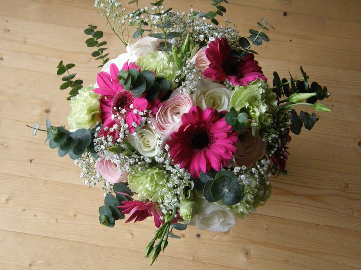 Hot pink, cream and cream hand tied bridal bouquet