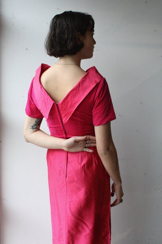 eee42cc9d45c8 Vintage 1960's Dress // 60s Fuchsia Pink Velvet and Satin Scoop Neck Party  Dress // Long Cocktail Wi