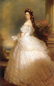 Sissi wedding - fashion designer - Carles Frederick Worth: Empress Elisabeth, Franz Xaver Winterhalter, Diamonds, Stars, Gowns, Gala Dresses, Portraits, Austria, Haute Couture