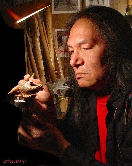 Charles at work in his flute shop, Warm Springs, Oregon #nativeamericanflute #charleslittleleaf