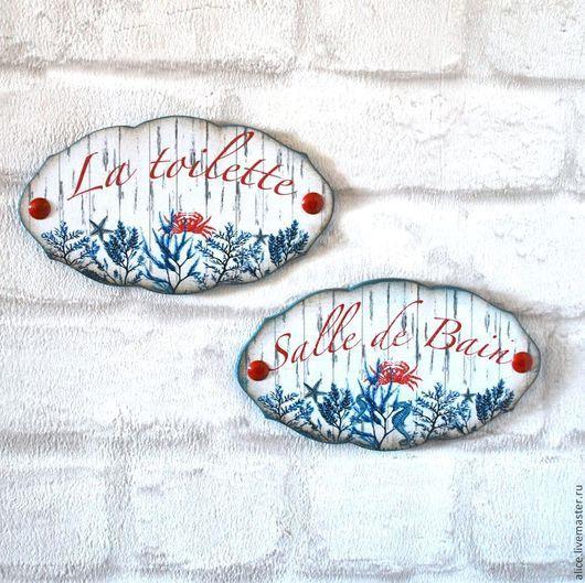 Ванная комната ручной работы. Ярмарка Мастеров - ручная работа. Купить Таблички для ванной и туалета. Handmade. Разноцветный, морская тема