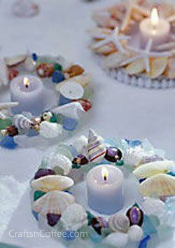 Love these for a summer wedding or beach-theme party. The sea glass and seashells are so pretty in these DIY candle rings.