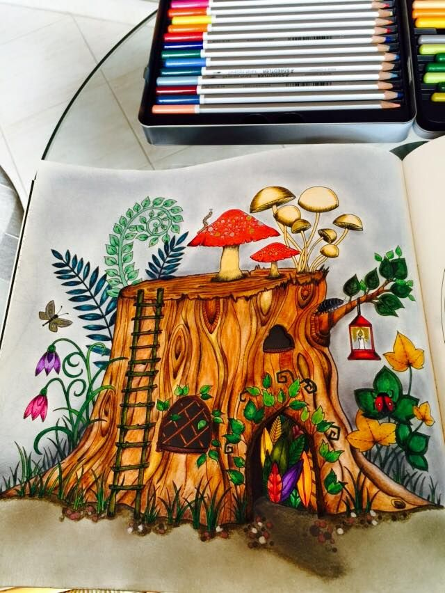 Enchanted Forest Finished Coloring Page