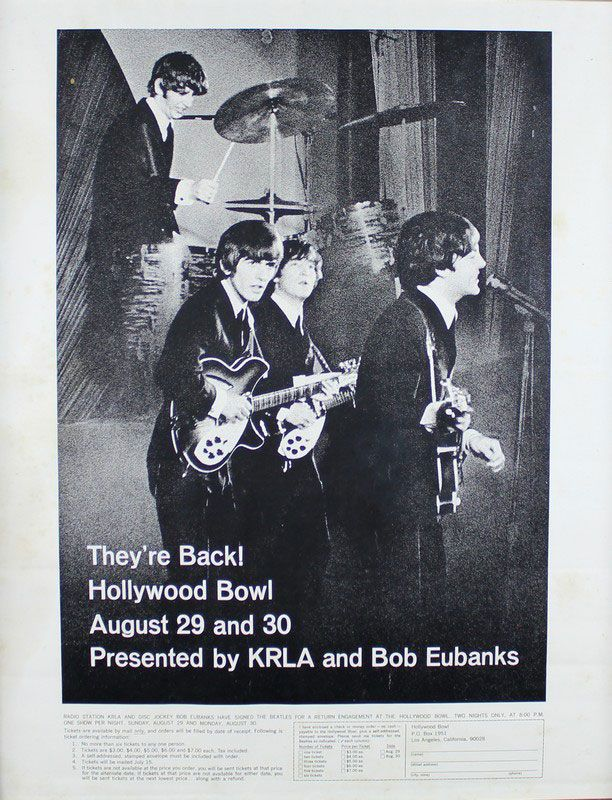 The Beatles Hollywood Bowl poster. A poster advertising the performance of The Beatles at the Hollywood Bowl on August 29th and 30th 1965 presented by KRLA and Bob Eubanks with ticket information listed beneath.