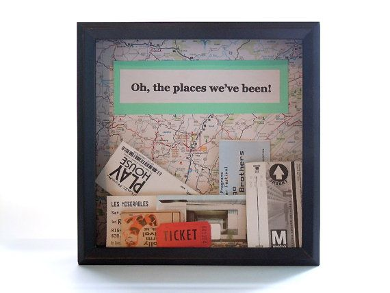 shadow box ticket holder ticket box drop top shadow box map decor shadow box frame with map unique gift oh the places weve been