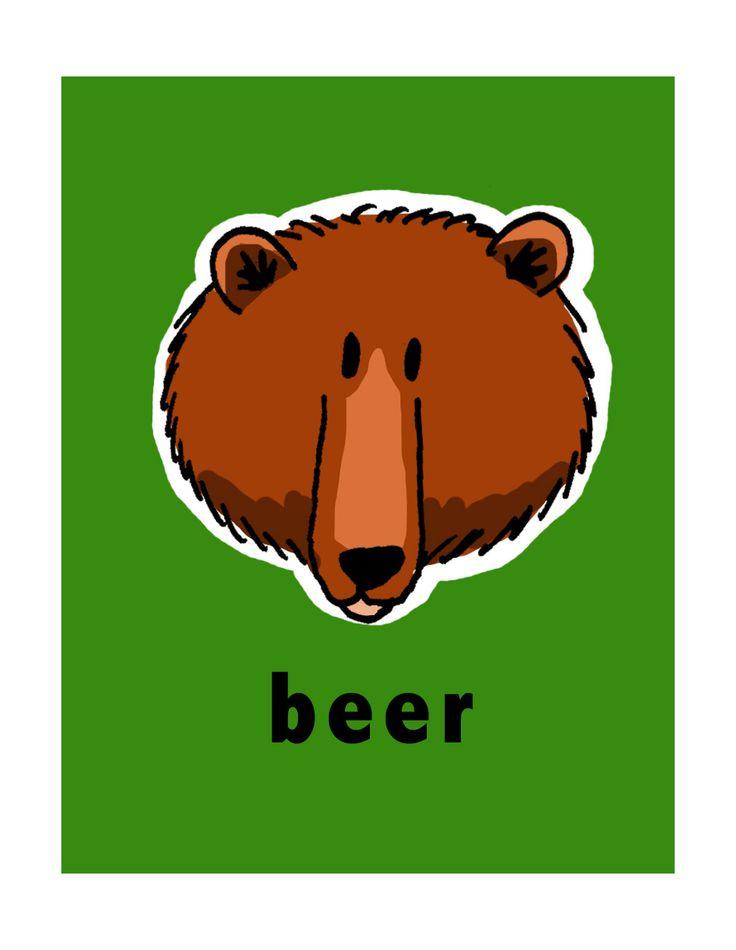En een kekke beer, leuk om er 2 bij elkaar te hangen in de kinderkamer! De achtergrondkleur mag je zelf bepalen.