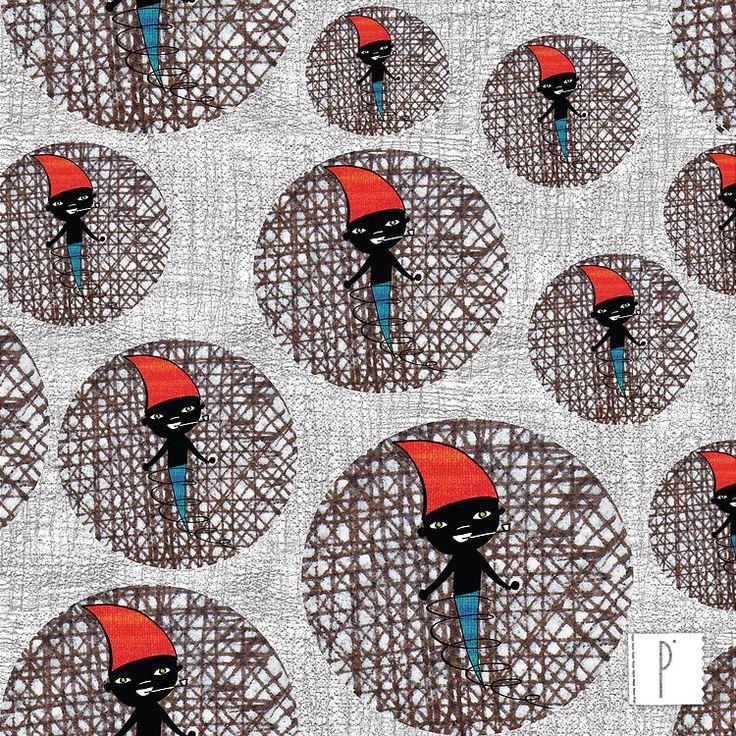 Estampa do Saci Pererê do nosso folclore disponível em diversos tecidos de algodão e poliéster. Confira em www.panolatras.com.br