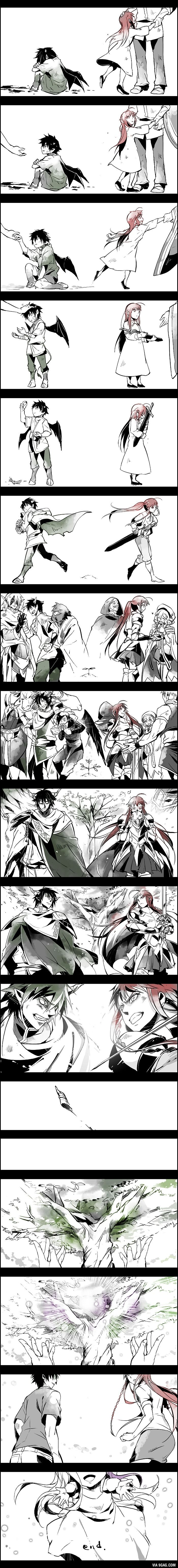 Hataraku Maou-sama / the devil is a partimer (maou & emilia ) - They both fight to protect, yet they're not so different.