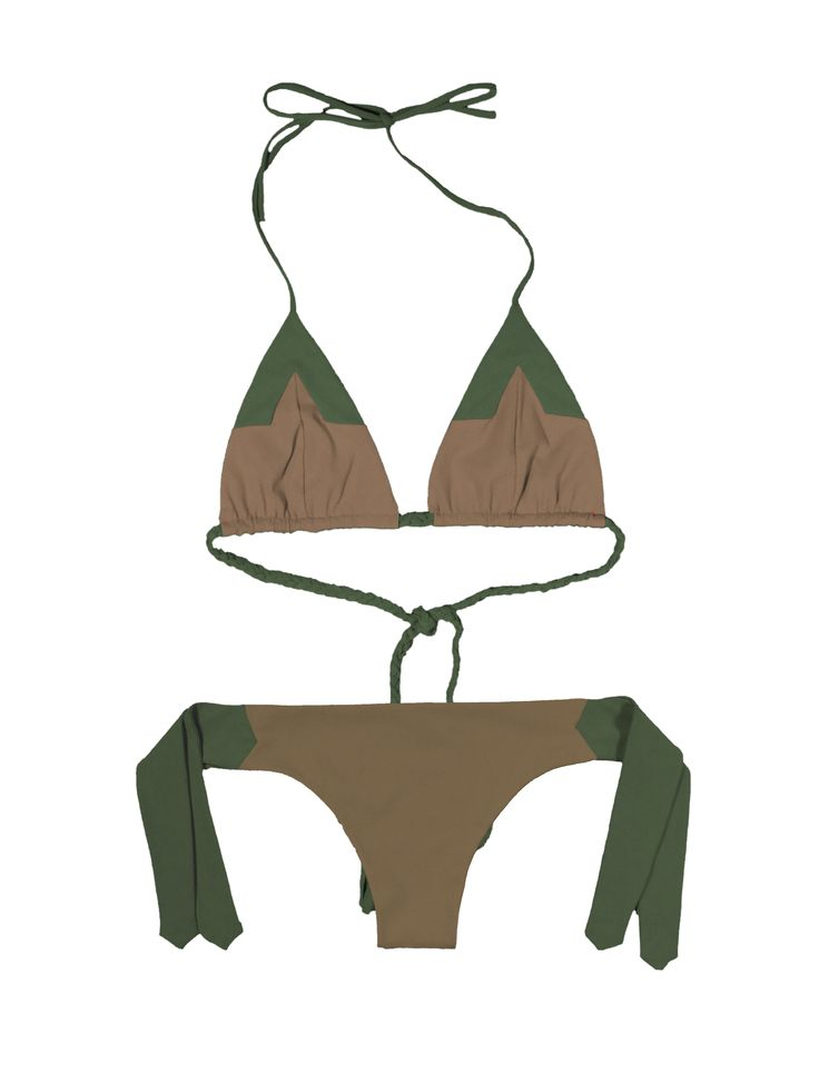 Talia bikini double face  by www.fridaquerida.com €150 black, green,and toupe color block