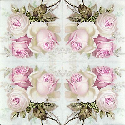 4x Single Table Party Paper Napkins for Decoupage Craft Vintage Bouquet of Roses
