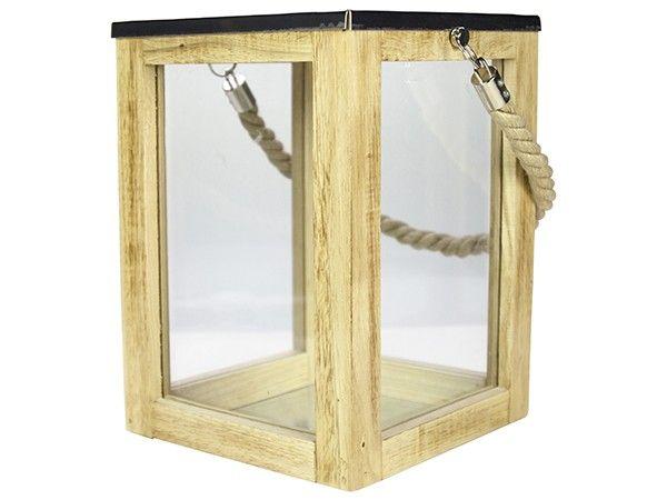Gusta lantaarn hout 18x25 cm. Mooie houten lantaarn, voorzien van touw. Ideaal voor buiten én binnen. Ook een echt Gusta kado.