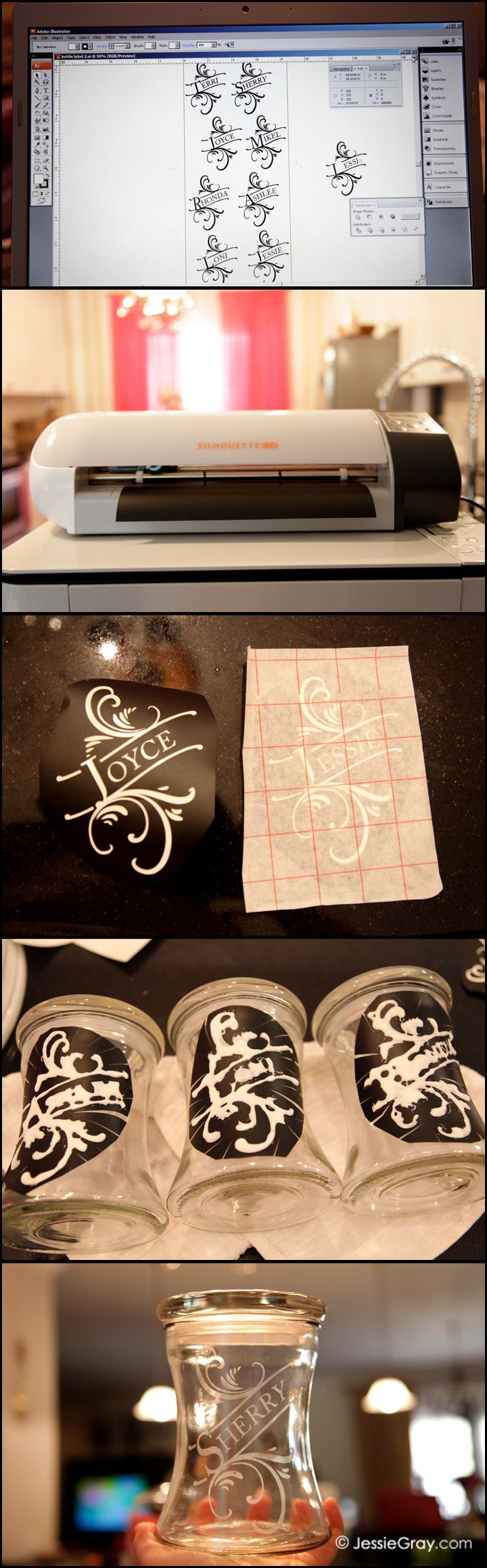 Glass Etching with Silhouette SD. I'm making these for Christmas and filling them with Bath salts. 1. Make design in Adobe Illustrator 2. Print from Silhouette SD on Vinyl 3. Remove unneeded vinyl and apply transfer paper 4. Apply vinyl to glass then coat in etching cream 5. Wait 15 minutes wash off etching cream and remove vinyl.