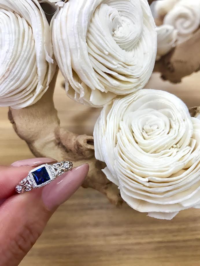 Antique me.... #bluesapphires #antique #engagementrings #diamonds #whitegold