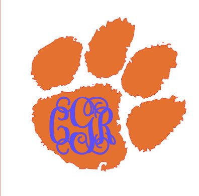 Clemson Paw with Monogram by CuttinCrazy on Etsy, $4.00