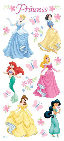 disney stickers packaged-princess dreams glitter