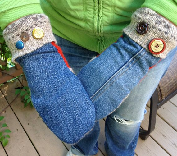 Handcrafted Wool and Denim Mitten by 47Sweaters on Etsy