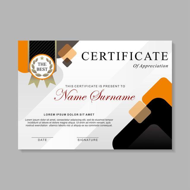 قالب تصميم الشهادة الحديثة مع تصميم قالب دبلوم اللون الأبيض والأسود والبرتقالي Sertifikat Penghargaan Template Desain